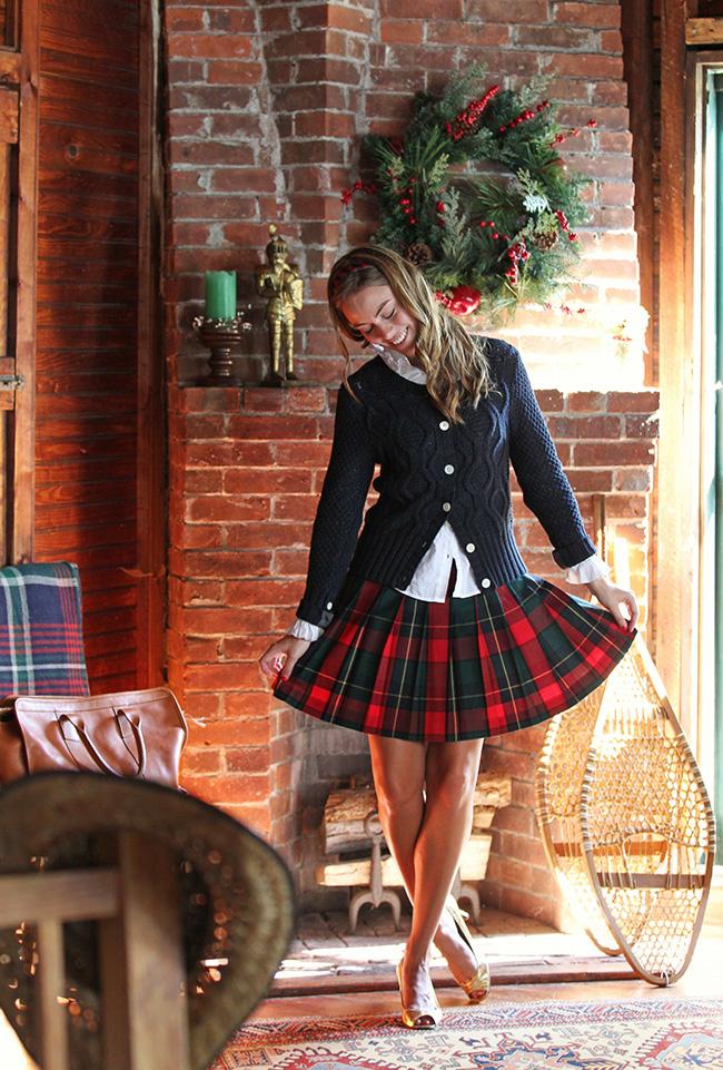 Christmas Riven Plaid skirt small