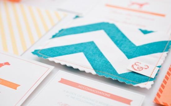 Orange-Teal-Chevron-Stripe-Fabric-Pocket-Wedding-Invitation6-550x343