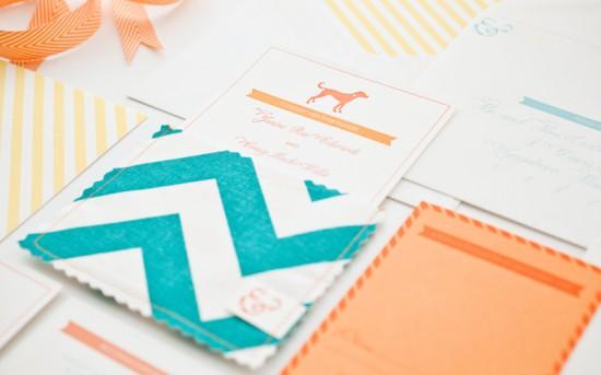 Orange-Teal-Chevron-Stripe-Fabric-Pocket-Wedding-Invitation8-550x343