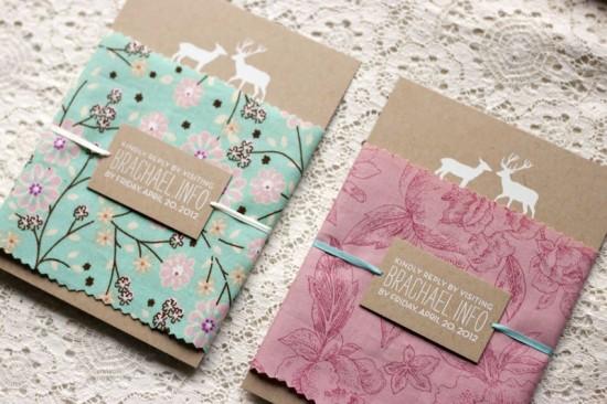 Rustic-Woodland-Fabric-Kraft-Paper-Wedding-Invitations2-550x366