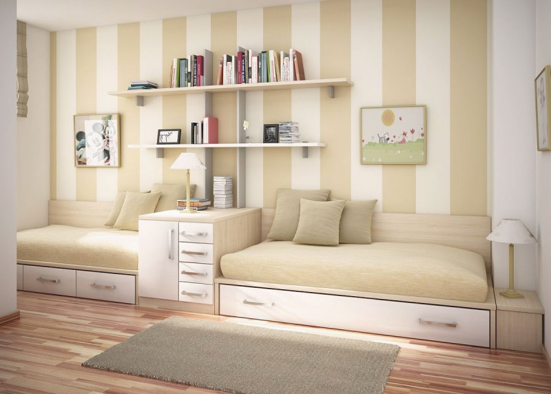 Neutral Kids Bedroom With Striped Wall Decor 800x572